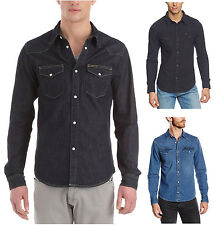 Lee Western Denim Shirt New Men's Black Dark Indigo Blue Jean Shirts Slim Fit