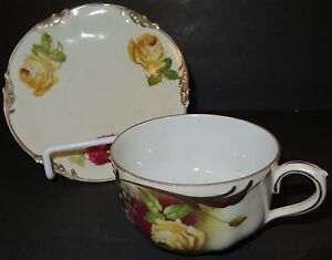 Prov Sace, E.S. Germany, TEACUP, White with Roses & Gold Trim,  1881-1938