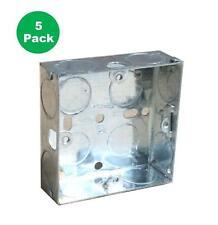 5 X SINGLE METAL PATRESS BACK BOX 25MM 1 GANG ELECTRICAL PATTRESS SWITCH SOCKET