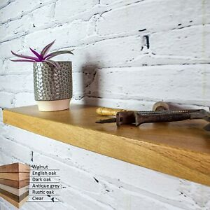 Solid Oak Floating Wall Shelf. Chunky 5 cm thick, 19 cm width, various length.