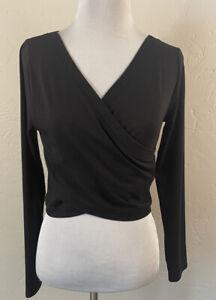 Athleta Encore Wrap Top Long Sleeve Black XS Extra Small Criss Cross Shirt