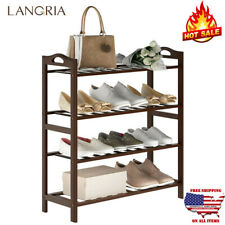 4 Tier 12 Pair Shoe Rack Stand Wall Tower Storage Organizer Shelf Cabinet Holder