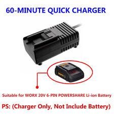 WORX 20V 6-PIN Li-ion Battery 60-MINUTE QUICK CHARGER(AC 100-240V US/EU/AU Plug)