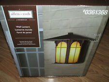 New Allen & Roth Lindbergh Exterior WALL LANTERN Bronze Finish Honey Opal Glass