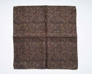 "Battisti New Brown Tonal Paisley Print 100% Silk Designer Pocket Square 13"""