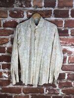 Vintage Prada L 16 Cuff Flip Western Work Italy Napoli Label Country Dress Shirt