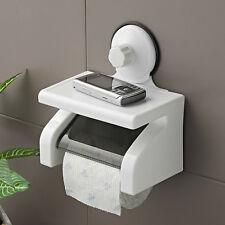 TOILET ROLL LOO PAPER HOLDER BATHROOM WITH SCUTION GRIP SHELF MOBILE HOLDER S006