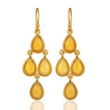 Yellow Chalcedony 18K Gold Plated 925 Sterling Silver Dangle Earrings Jewelry