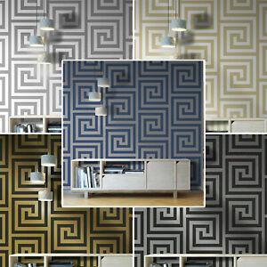 Debona Athena Greek Key Metallic Glitter Wallpaper All Colours Gold Silver Black