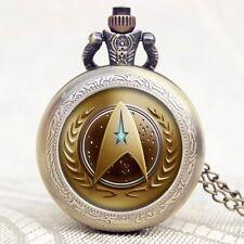 Vintage Mens Star Trek Steampunk Necklace Quartz Pocket Watch Analog Xmas Gift