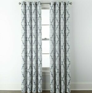 (1) JCPenney Home Casey Jacquard INDIGO BLUE 7313191 Grommet Curtain 50 X 84