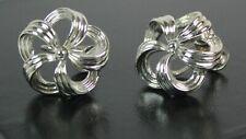 Vintage Lisner Silver Tone Ribbon Flower Design Screw back Earrings
