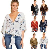 Womens Short Sleeve V Neck Floral Tie Front Blouses Batwing Summer Tops Shirt UK