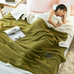Two Side Cashmere Blanket Bed Covers Bedding Throw Solid Warm Quilt Flat Sheet