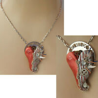 Necklace Steampunk Heart Pendant Jewelry Hand Sculpted Chain Silver Cosplay New