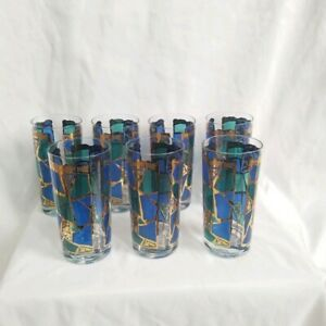 """Vintage """"Europa""""set of 7 barware tall glasses by Georges Briard"""