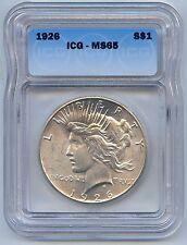 High Grade 1926 $1 Peace Dollar ICG Graded MS 65. Lot #2510