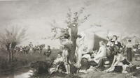 NUDE Women's Army Camp - 1880s Photogravure Print