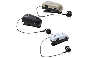 Cuffia auricolare bluetooth con clip cavo retrattile wireless F-V2