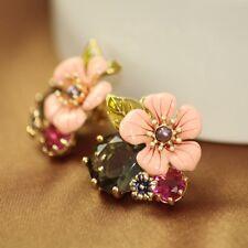 Boucles d`Oreilles a Clip  Fleur Rose Email Feuille Soirée Mariage Cadeau L6