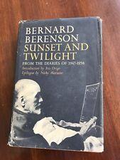 Sunset and Twilight, Bernard Berenson Diaries 1947-1958 Am. art historian 1st Hb