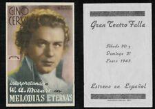 Programa publicitario de cine. MELODIAS ETERNAS con Gino Cervi. Teatro Falla.