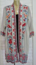 Johnny Was Kimono Jacket Embroidered Gray Cotton Long Sleeve BOHO Top Sweater
