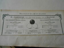 Fabrique de Billes de Billard incassable E. Jannin Pub 1887