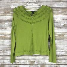 Willi Smith Women Sweater Cardigan Sz L L/S Green Stretch Soft Ruffle Detail NWT