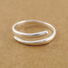925 Sterling Silver Line Adjustable Knuckle Midi Pinkie Thumb Toe Ring A3367