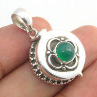 Green Onyx 925 Sterling Silver Openable Box Pendant Jewelry S 1.3""