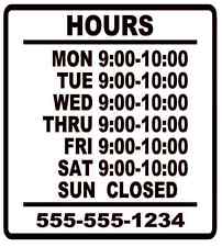 "Business Store Hours Sign Window Shop Open Closed Sticker Decal 10""x9""  VER 1"