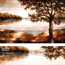 "36""x24"" LAKE MAMRY by ZENON BURDY STUNNING TREE FRONT of SCENIC WATER CANVAS"