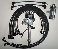 SMALL BLOCK CHEVY,Coil, BLACK Cap HEI Distributor,SPARK PLUG WIRES under exhaust