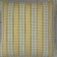 A 16 Inch Cushion Cover In Laura Ashley Ribbon Stripe Cowslip Fabric