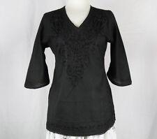 Indian Embroidered Boho Bollywood Top Tunic Shirt Kurtis Kurta Cotton Black