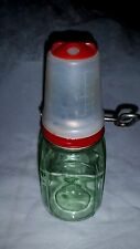 RARE Depression Green Nut & Spice Grinder Glass Jar With Cap Measuring Cup
