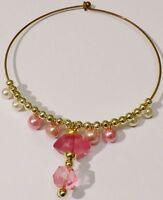 collier bijou tour de coup vintage couleur or déco pampille perle rose * C3