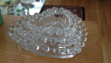 Imperial Glass Co Candlewick Heart Shaped Nestling Ashtray Dishes - Set of 3