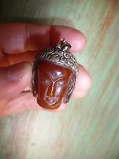 pendentif ancien visage bouddha en ambre sur argent ciselé - Tibet