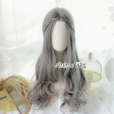 Gray Curly Lolita Style Heat Resistant Anime Cosplay Full Hair Wig With Braids