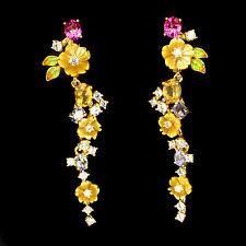AAA Pink Topaz, Tanzanite, Mother of Pearl .925 Sterling Silver Enamel Earrings
