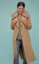Next Camel belted coat with fake fur collar Size 16 New