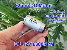 DC 12V 6300RPM Strong Magnetic Large Torque 22mm DC Motor DIY Robot Boat model
