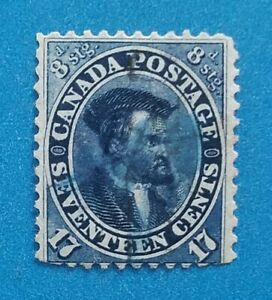 Canada stamp Scott #19 used very light postmark. Rich blue color. Good perfs.