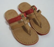 UGG Australia AUDRA Braided Leather Flip Flop Sandals Womens 6 Tomato Soup NWOB