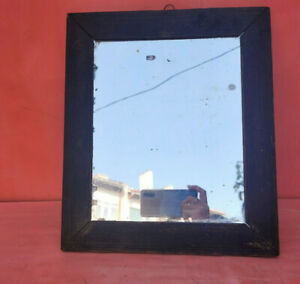 OLD ANTIQUE PRIMITIVE WOODEN HAND MADE MIRROR WITH WOODEN FRAME