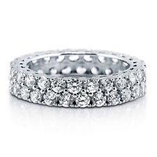 Prata Esterlina .925 Feminino Linha 2 Cz Eternidade Anel banda de casamento tamanho 4-10