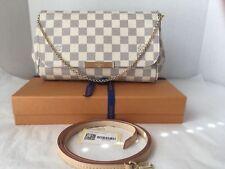 Authentic-Louis-Vuitton-Favorite MM Shoulder Bag Clutch Damier Azur