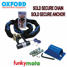 GROUND ANCHOR & OXFORD SOLD SECURE MOTORCYCLE 2M CHAIN LOCK SECURITY PACK